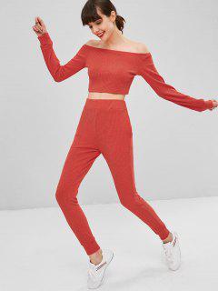 Knitted Off Shoulder Ribbed Set - Shocking Orange M