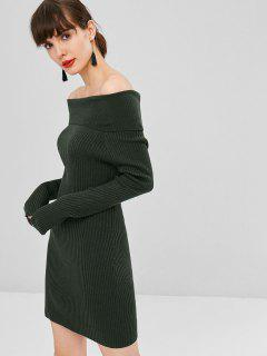 Ribbed Off Shoulder Sweater Dress - Army Green L
