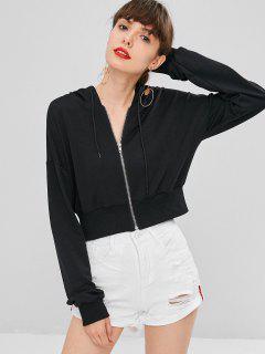 Zip Front Crop Hoodie - Black S
