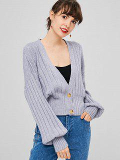 Plunge Buttoned Cardigan - Gray Cloud