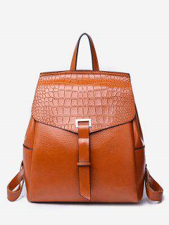 Portable Flap Convertible Faux Leather Backpack - Brown