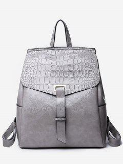 Portable Flap Convertible Faux Leather Backpack - Gray