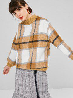 Mock Neck Tartan Sweater - Camel Brown M