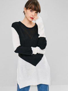 Side Slit Two Tone Sweater - Black
