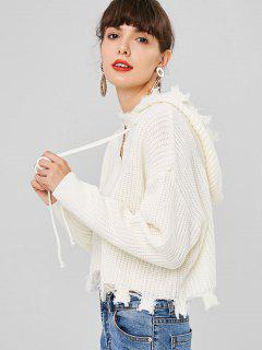Frayed Hem Hooded Cardigan - White S