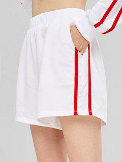 Side Pockets High Waisted Sweat Shorts - White M