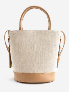 Canvas Contrasting Color Casual Tote Bag - Apricot