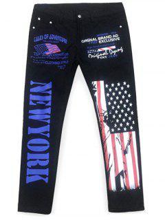 Straight Artistic Letter USA Flag Printing Jeans - Black 38
