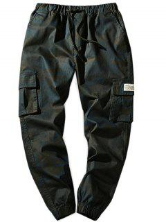 Drawstring Waist Flap Pockets Camo Jogger Pants - Dark Gray Xs