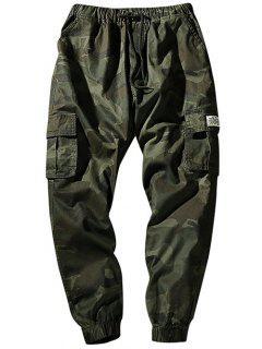 Drawstring Waist Flap Pockets Camo Jogger Pants - Army Green Xs