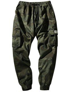 Pantalon Cargo De Jogging Camouflage Taille à Cordon Avec Poches à Rabat - Vert Armée S