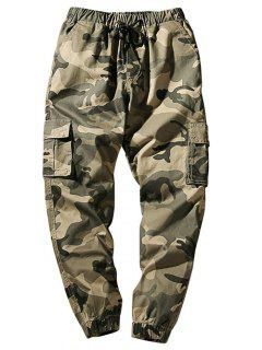 Drawstring Waist Flap Pockets Camo Jogger Pants - Light Khaki Xs