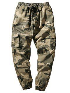 Drawstring Waist Flap Pockets Camo Jogger Pants - Light Khaki S