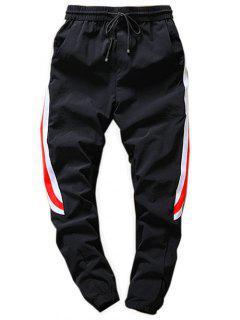 Elastic Waist Color Block Jogger Pants - Black S