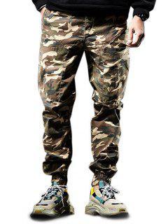 Multi-pocket Zip Fly Camouflage Jogger Pants - Light Khaki Xs