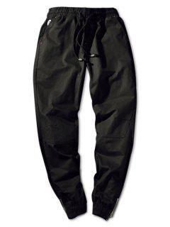 Pantalones Jogger Con Cintura Ajustada En Cremallera De Color Sólido - Negro S