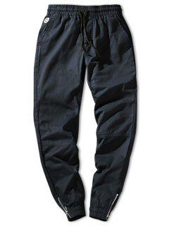 Zip Hem Solid Color Drawstring Waist Jogger Pants - Deep Blue Xs