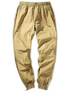 Zip Hem Solid Color Drawstring Waist Jogger Pants - Light Khaki S