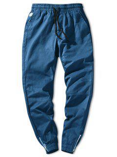 Zip Hem Solid Color Drawstring Waist Jogger Pants - Light Blue S