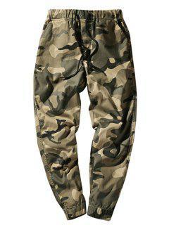 Elastic Waist Camouflage Casual Pants - Light Khaki S