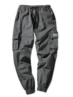Solid Color Flap Pockets Elastic Waist Jogger Pants - Dark Gray Xs