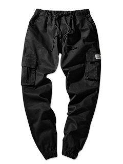 Solid Color Flap Pockets Elastic Waist Jogger Pants - Black Xs