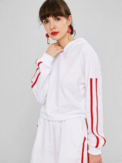 Dropped Shoulder Side Stripe Cropped Hoodie - White S