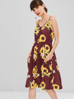 Button Sunflower Print Midi Dress - Red Wine M
