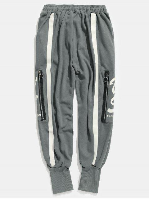 Pantalones Harem de rayas con bolsillo lateral con cremallera - Gris S Mobile