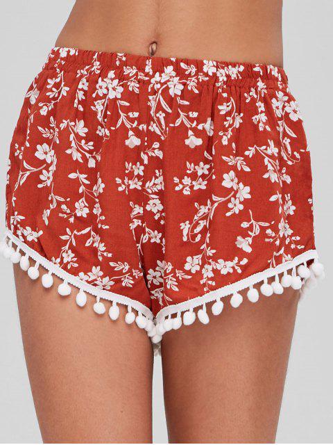 Häkel Trim Blumen Shorts - Kastanie Rot Eine Größe Mobile