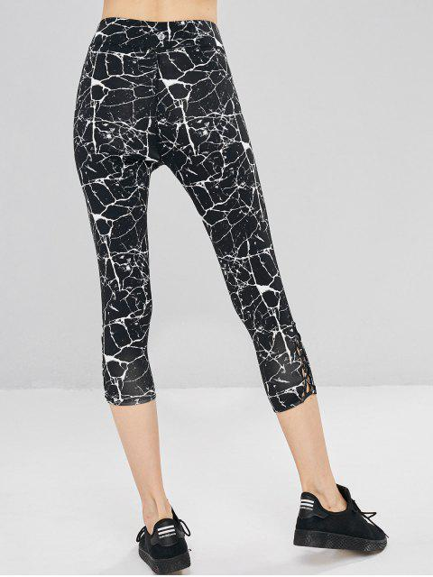 Leggings deportivos Criss Cross con estampado de mármol - Negro S Mobile