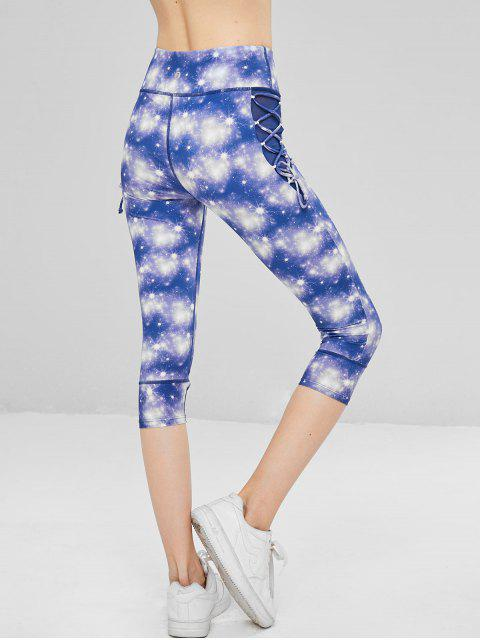 fashion Galaxy Lace Up Cropped Leggings - PURPLE S Mobile