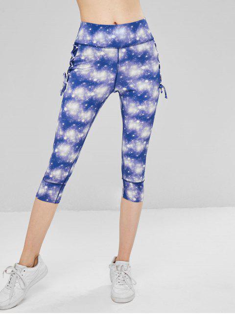fancy Galaxy Lace Up Cropped Leggings - PURPLE L Mobile
