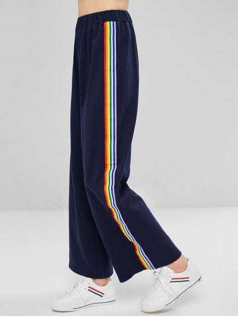 Pantalones anchos de rayas de colores - Azul de Medianoche L Mobile