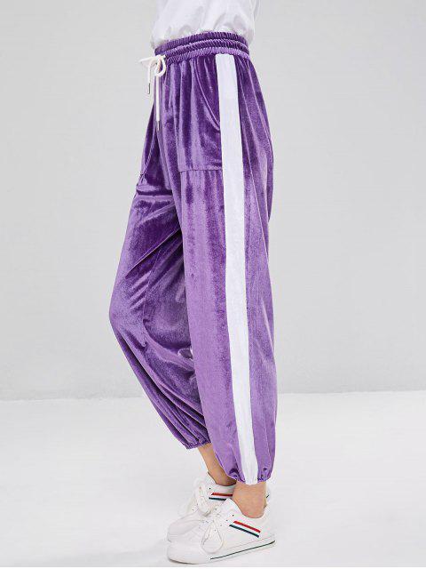 対照的なベルベットジョガーパンツ - 紫の L Mobile