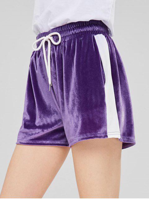 fashion Two Tone Velvet Shorts - PURPLE M Mobile