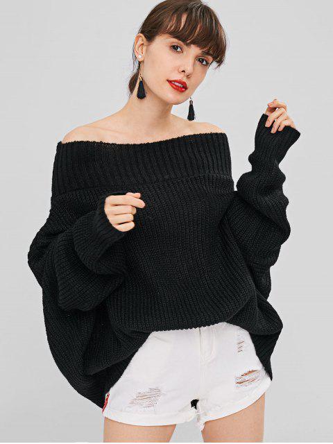 Chunky Knit Loose Fit Pullover - Schwarz Eine Größe Mobile