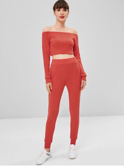 outfits Knitted Off Shoulder Ribbed Set - SHOCKING ORANGE L Mobile