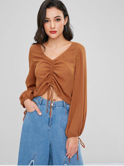 Blusa con lazo con cuello en V y lazo - Marrón XL Mobile