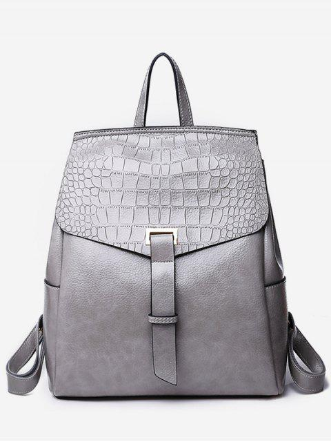 lady Portable Flap Convertible Faux Leather Backpack - GRAY  Mobile