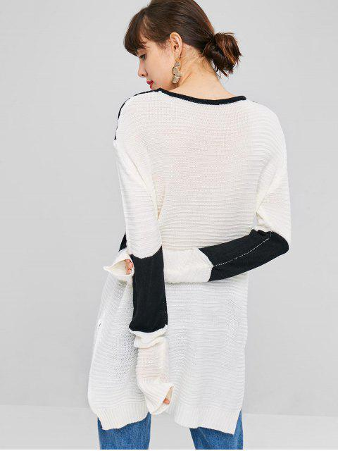 shops Side Slit Two Tone Sweater - BLACK ONE SIZE Mobile