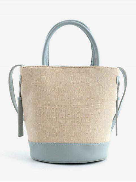 outfit Canvas Contrasting Color Casual Tote Bag - BLUE  Mobile