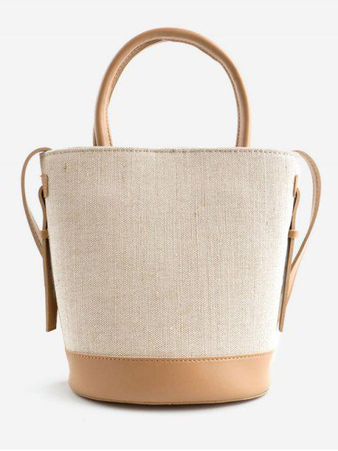 outfits Canvas Contrasting Color Casual Tote Bag - APRICOT  Mobile