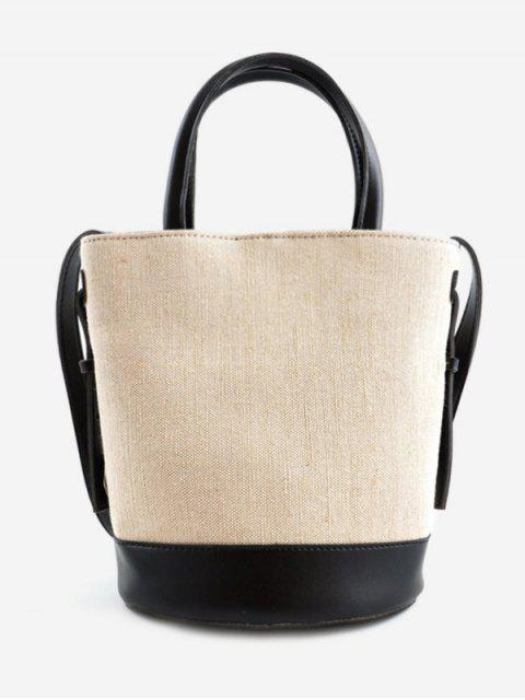 shops Canvas Contrasting Color Casual Tote Bag - BLACK  Mobile