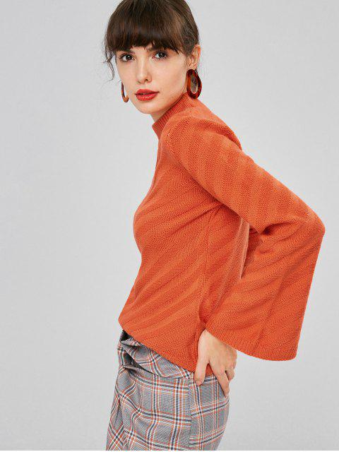 women Slit Sleeve Mock Neck Sweater - PAPAYA ORANGE M Mobile