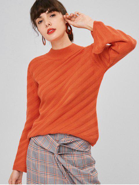 Schlitz Ärmel Stehkragen Pullover - Papaya Orange L Mobile