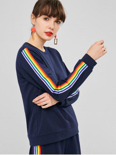 Sweat-Shirt avec Empiècements à Rayures Colorées - Bleu de Minuit L Mobile