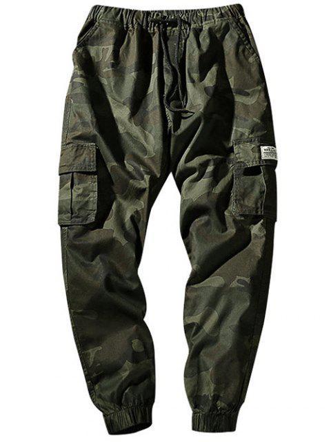unique Drawstring Waist Flap Pockets Camo Jogger Pants - ARMY GREEN XS Mobile