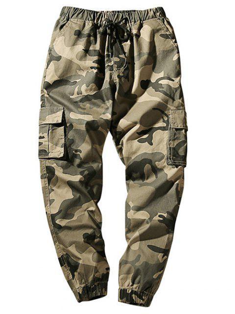 Cintura con cordón Bolsillos con solapa Camo Jogger Pants - Caqui Claro S Mobile