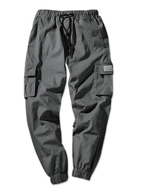 new Solid Color Flap Pockets Elastic Waist Jogger Pants - DARK GRAY S Mobile